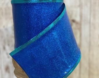 4in blue glitter jelly ribbon~ 10 yards ~ Wired