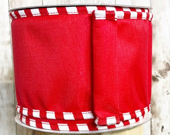 """4"""" Red Boarder Check Ribbon~ 10 yards ~ Wired"""