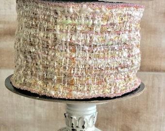 D.Stevens Destash ~ 4″ wide bouclé ribbon with shades of gold, peach and mint