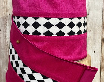 """4"""" Fuchsia with black n white harlequin accent ~ 10 yards ~ Wired"""
