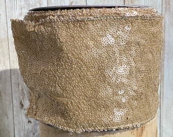 """4"""" gold sequin ribbon~ 10yards ~ Wired"""