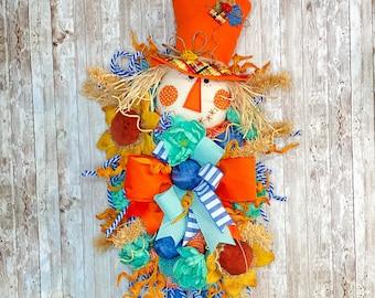 Fall Door Wreath, Scarecrow Swag, Halloween Door Hanger, Halloween home decor, Fun Fall Decorations, Turquoise Fall Porch Decor