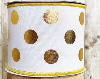 """4"""" Gold Polka Dot on White Canvas~ 10 yards ~ Wired"""