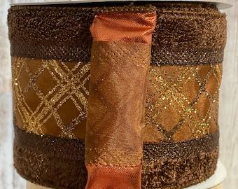 4 in chocolate fuzzy trim & glitter plaid ribbon~ 10 yards~ Wired