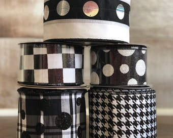 Black and White Pop Box ~ Designer Wired Ribbon Assortment