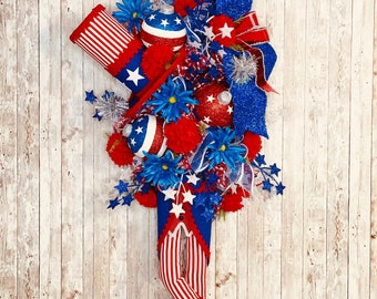 Patriotic Wreath for Front Door, Fourth Of July Decor, God Bless America Door Hanger, Memorial Day Decor, Independence Day Wreath