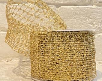 "4"" Gold ""Pull Apart"" Flex Mesh Ribbon ~ 10yards ~ Wired"