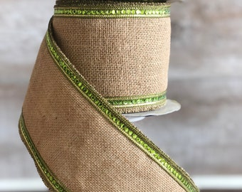 4 inch Sequined Burlap Ribbon ~ 10 feet ~ Wired Ribbon