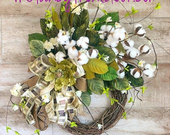 Magnolia Leaf Wreath, Wreath For Front Door, Summer Grapevine Wreath, Cotton Wreath, Farmhouse decoration, Housewarming Gift, Rustic decor