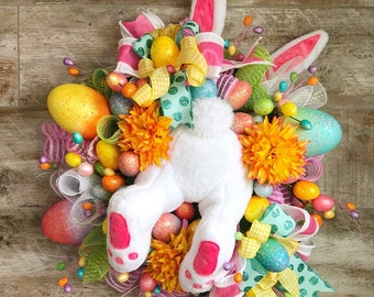 Easter Wreath, Easter Bunny Wreath, Spring Wreath, Easter Decoration, Wreath for Front Door, whimsical Easter, Easter decor, Easter mantle