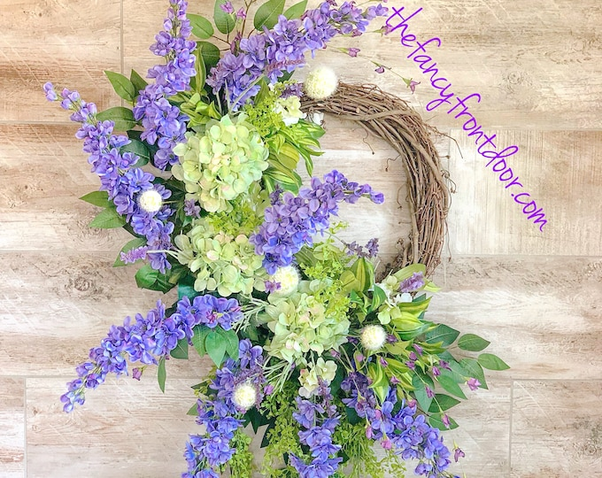 Featured listing image: Everyday wreath, Summer Door Wreath, Large Floral Wreath, Wreath for Front Door, Purple Floral Wreath, Housewarming Gift, Summer Decor, gift