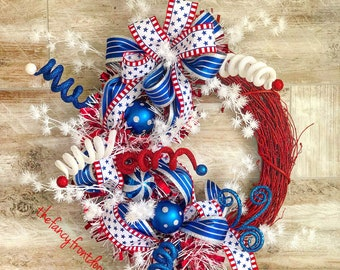 Patriotic Wreath, Patriotic Door wreath, Fourth of July wreath, Patriotic decor, summer wreath for front door, Memorial Day Wreath,