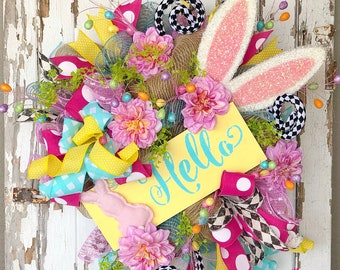 Easter Wreath, Easter Bunny Wreath, Spring Easter Door, Rabbit wreath, Easter Mesh Wreath, Easter Gift, Easter party Decor, Easter Decor