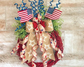 Patriotic Wreath, Fourth of July Wreath, Patriotic decor, July Wreath, Memorial Day Wreath, Memorial Day Decor, Red White and Blue decor