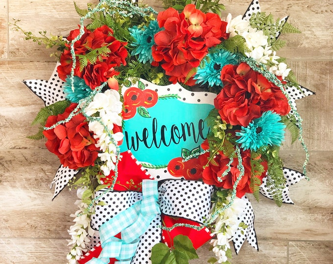 Featured listing image: Wreath for Front Door, Welcome Wreath, Everyday Wreath, Grapevine Wreath, Summer Wreath, Spring Wreath, Floral Wreath, Housewarming gift