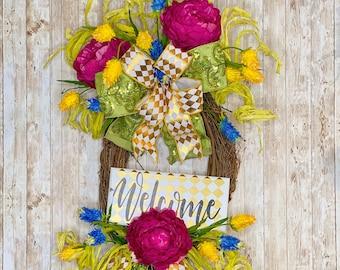 Welcome Wreath, Everyday Wreath For Front Door, Spring Wreath, Summer Wreath, Welcome Door Hanger, Housewarming Gift, Wedding Present