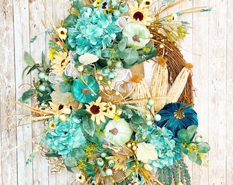 Teal Pumpkin Wreath, Farmhouse Fall Wreath, Floral Fall Wreath, Turquoise Pumpkin door hanger, Housewarming Gift, Thanksgiving decor