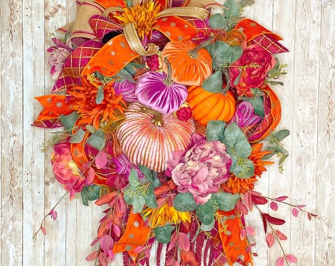 Featured listing image: Boho Fall Wreath, Boho Fall Decor, Fall Wedding decor, Velvet Pumpkin Wreath, Thanksgiving decor, Bold fall wreath, Housewarming Gift,