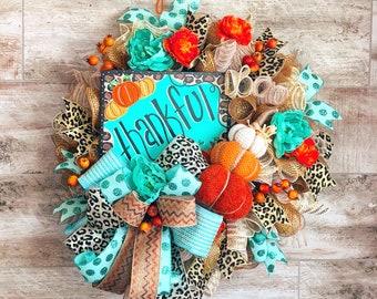 Turquoise Fall Wreath, Leopard Pumpkin Wreath, Fall Doorhanger, Thanksgiving Decorations, Housewarming Gift, Wedding Present, Fall Deco Mesh