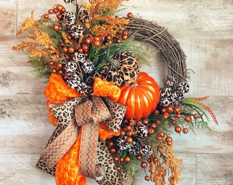 Fall Wreath For Front Door, Leopard Print Fall Door Hanger, Rustic Fall Floral Wreath, Pumpkin Wreath, Wedding Gift, Housewarming present