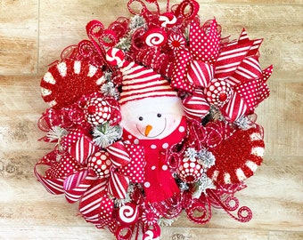 Christmas Wreath with Snowman, Winter Wreath for Front Door,Candy Cane Decorations, Christmas Decorations,