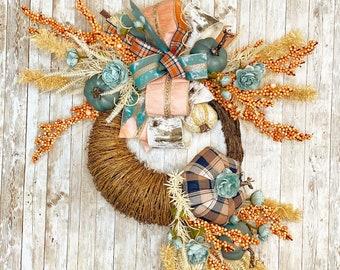 Fall Wreath For Front Door, Thanksgiving Cornucopia Wreath, Fall Mantle Decor, Thanksgiving Decor, Fall Porch Decor, Farmhouse Fall Wreath