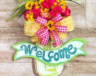 Door Hanger, Summer Door Hanger, Welcome Door Hanger, Wreath For Front Door, Housewarming Gift, Summer Floral Wreath