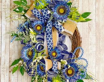 Sunflower Wreath, Everyday Farmhouse Wreath, Sunflower Door Hanger, Housewarming Gift, Wedding Present, Mother's Day Gift, Blue Sunflowers
