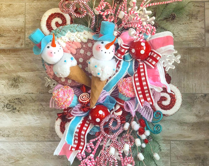 Featured listing image: Christmas Wreath, Christmas Wreath For Front Door, Candy Christmas Decor, Christmas Swag, Winter Wreath, Snowman Wreath, Christmas Mantle