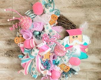 Christmas Wreath, Candy land Christmas Decor, Nutcracker Wreath, Winter Door Hanger, Christmas Gift, Pink Christmas, Gingerbread Wreath