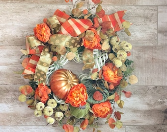 Fall Wreath, Fall Front Door Wreath, Fall Home Decor, Pumpkin Wreath, Autumn Wreath, Fall Door, Fall Front Porch, Housewarming gift,