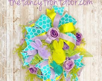 Easter Wreath, Bunny Door Hanger, Spring Wreath, Easter Decorations, Easter gift, Fuzzy Bunnies, Housewarming present, Spring porch decor