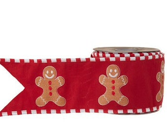 "4"" x 5 yards Gingerbread embroidered Raz ribbon"