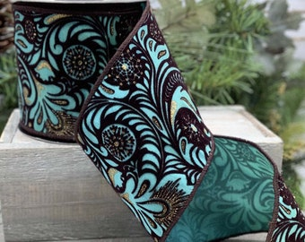 "4""x 10 yards D Steven's Dreamcatcher flocked ribbon, turquoise/copper"