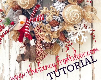 Burlap Wreath Tutorial, DIY Christmas Wreath, How to Decorate for Christmas, Rustic Wreath Tutorial, Christmas wreath tutorial