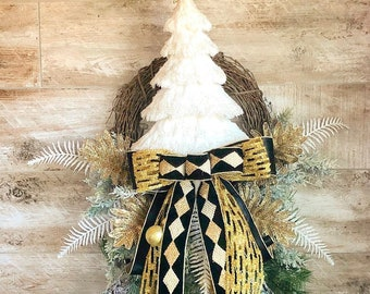 Christmas wreath, Winter Wreath, Black and Gold Decor, Hostess gift, Christmas gift, Mantle Wreath, Grapevine wreath, wreath for front door