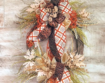 Fall Front Door Wreath, Leopard Fall Wreath, Farmhouse Style Grapevine, Fall Door Hanger, Housewarming Gift, Rustic Fall Wedding