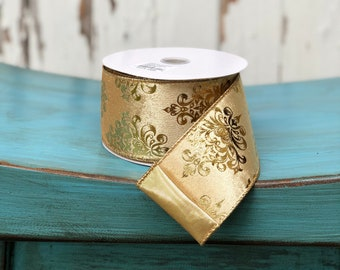 Double sided gold velvet wired ribbon, 2.5 inch, 3 yards
