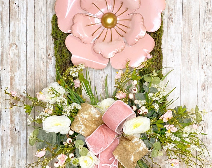 Featured listing image: Spring Wreath for Front Door, Spring Mantle Decor, Mothers Day Gift, Wedding Present, Housewarming Gift, Girl baby shower, Pink Wedding deco