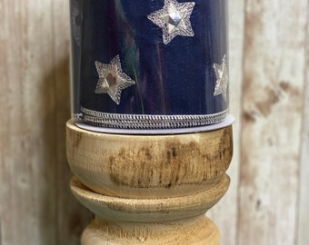 """4"""" Navy With Small Silver Star ribbon ~ 5 yards"""