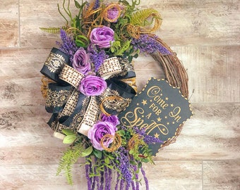 Halloween Wreath For Front Door, Purple Floral Halloween Grapevine Wreath, Elegant Whimsical Wreath, Housewarming Gift, Halloween Present