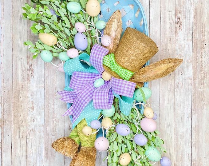 Featured listing image: Easter Door Hanger, Easter Bunny Basket, Spring Decor, Easter Door hanger, Easter Gift