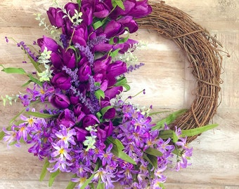 Purple tulip wreath made LIVE 5/24