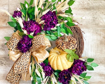 Purple Floral Fall Wreath