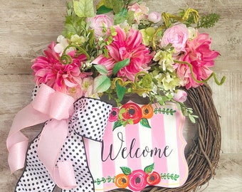 Front Door Welcome Wreath, Floral Grapevine Wreath, Summer Door hanger, Mantle Decor, Pink and Black Wedding Present, Housewarming Gift,