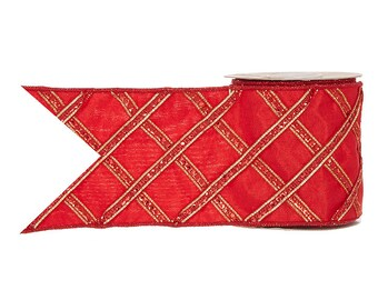 "4""x 5 yards Red, jeweled, embroidered Raz Ribbon"