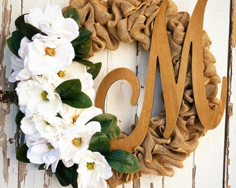 Monogram wreath, Custom Wreath, farmhouse wreath, Magnolia Wreath, Burlap Wreath, Housewarming gift, Monogram Burlap Wreath, Rustic wreath