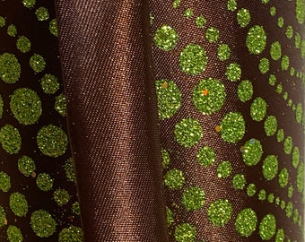 4 in Chocolate and green glitter polka dot, 10 yards ~ Wired