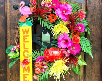 Summer floral wreath,Large floral front door wreath, luau themed decor, tropical door wreath, beach house wreath, hibiscus wreath, flamingo