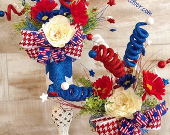 Patriotic Decor, Fourth of July Decor, 4th Of July Decor, Patrotic Centerpiece, Patriotic theme, Memorial Day Decor, 4th of July Party